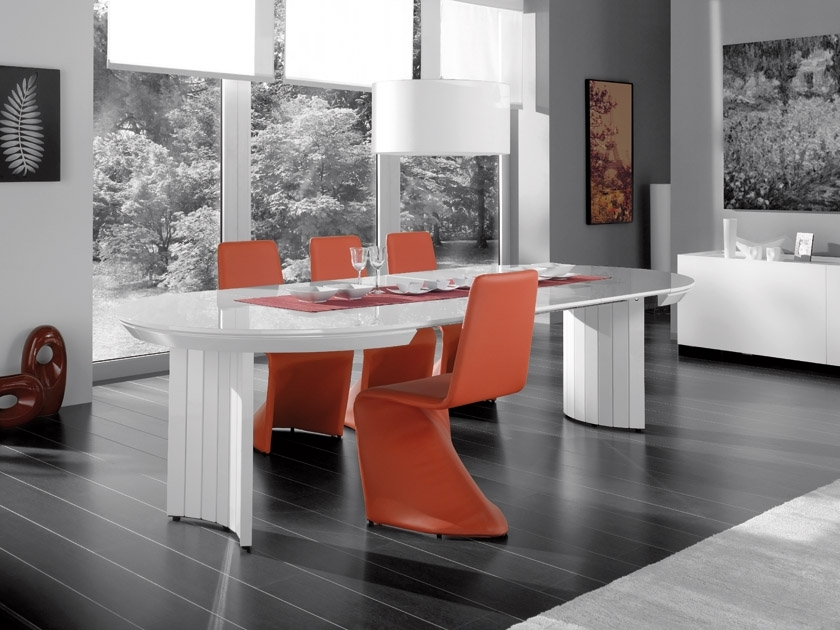 Extending Contemporary White High Gloss Dining Table For Black Gloss Dining Tables And Chairs (Image 9 of 25)