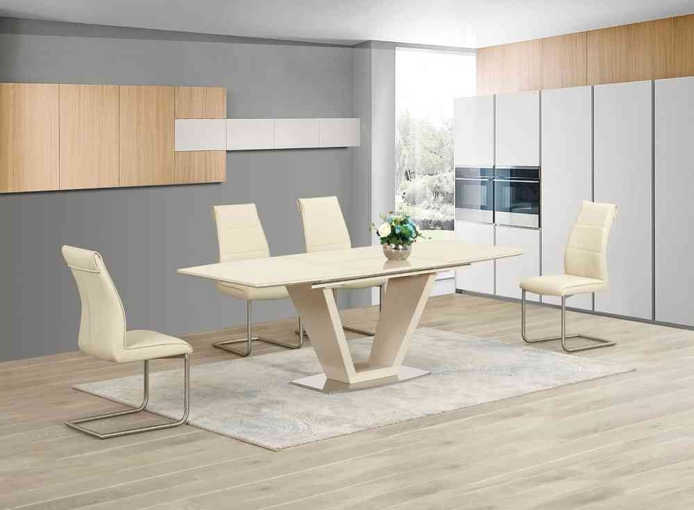 Extending Cream Glass High Gloss Dining Table And 8 Cream Chairs pertaining to Cream Gloss Dining Tables And Chairs