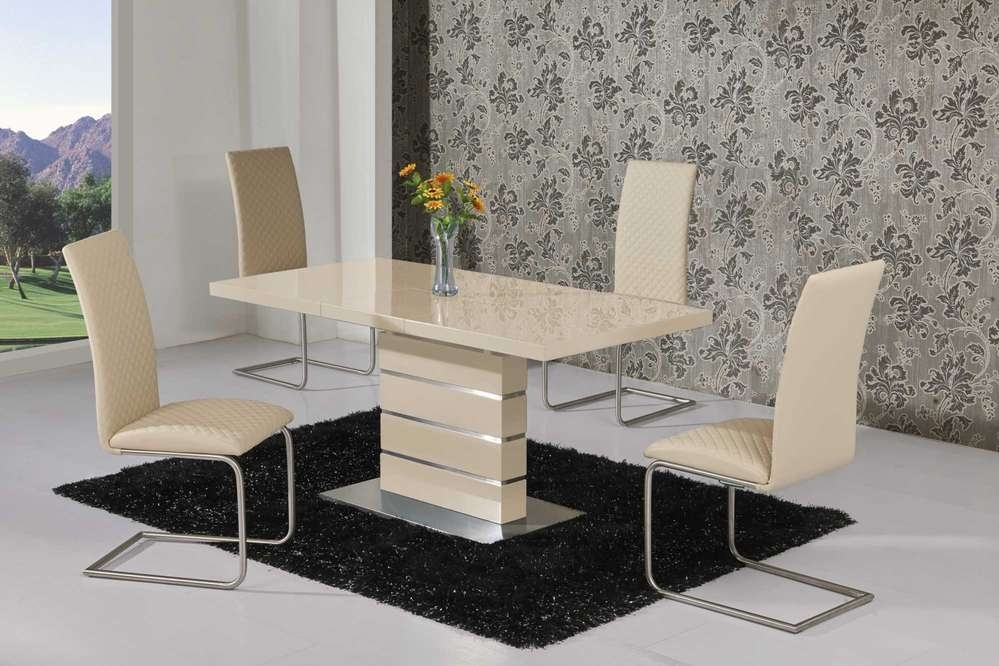 Extending Cream High Gloss Dining Table And 6 Cream Chairs Within Cream Gloss Dining Tables And Chairs (Image 11 of 25)