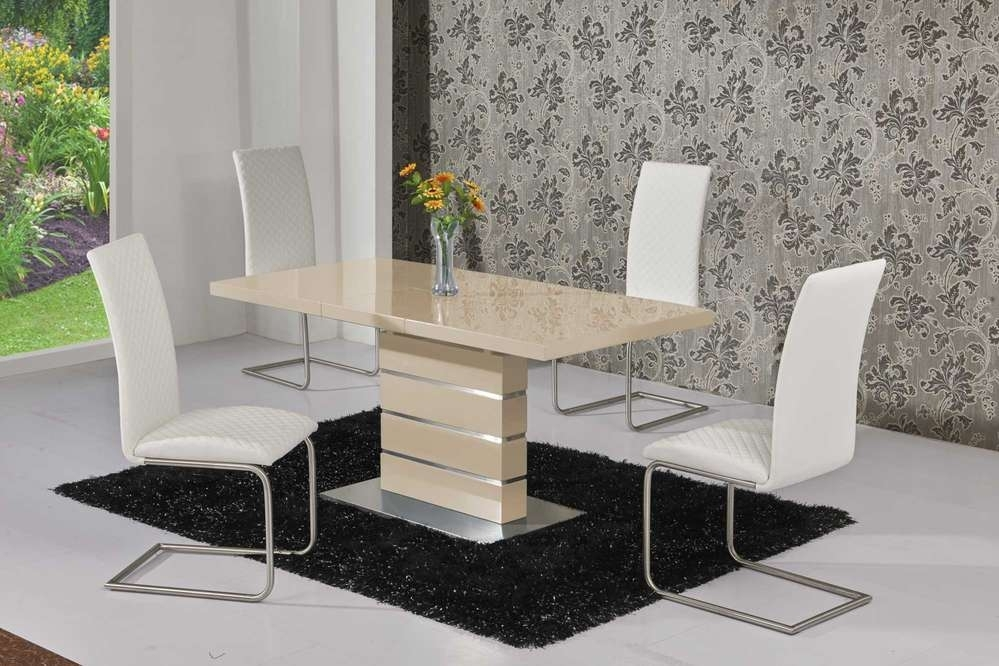 Extending Cream High Gloss Dining Table And 6 White Chairs for High Gloss Cream Dining Tables