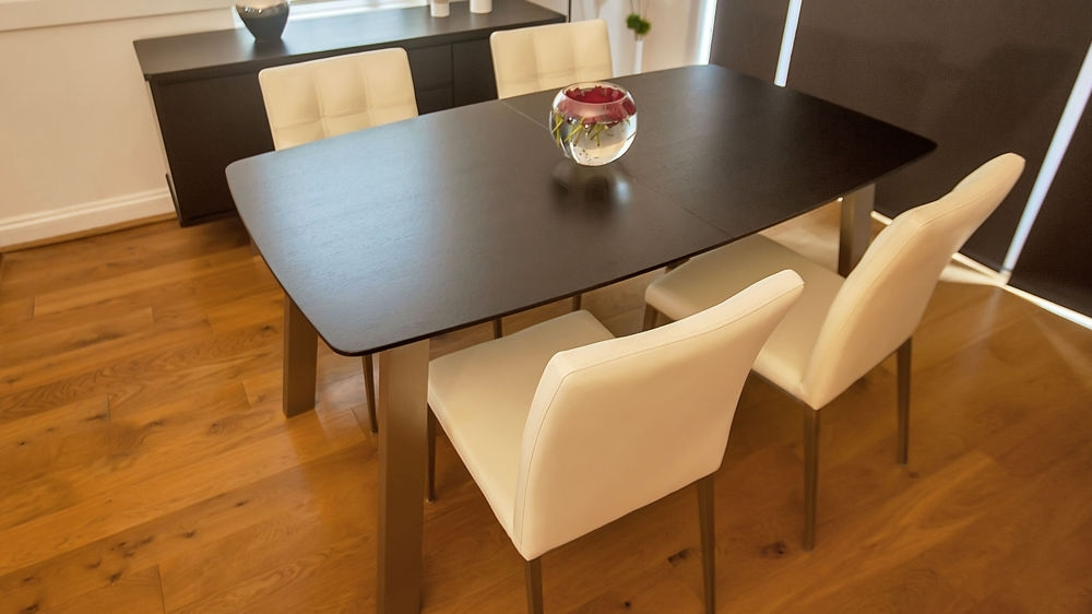 Extending Dark Wood 8 Seater Dining Table | Brushed Metal Pertaining To Dark Wood Extending Dining Tables (Image 12 of 25)