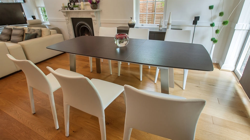 Extending Dark Wood 8 Seater Dining Table | Brushed Metal Within Dark Wood Dining Tables And 6 Chairs (Image 16 of 25)