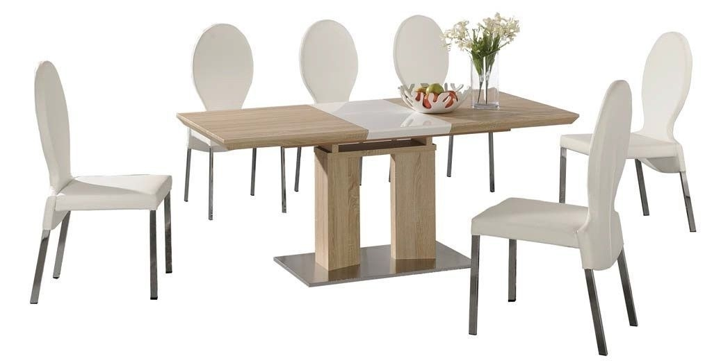 Extending Dining Table And 6 White Chairs Wood Finish /high Gloss Intended For Extending Dining Table Sets (Image 9 of 25)
