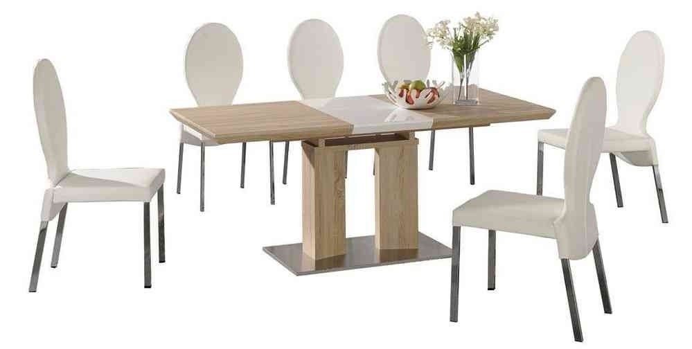 Extending Dining Table And 6 White Chairs Wood Finish /high Gloss With Regard To Extending Dining Tables And 6 Chairs (Image 17 of 25)