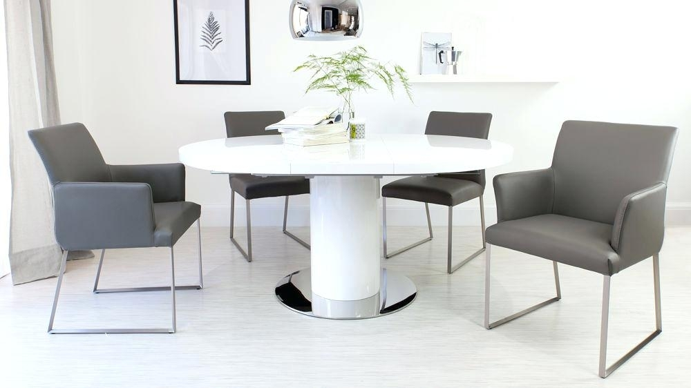 Extending Dining Table And Chairs Stylish Round White Gloss Throughout Round White Extendable Dining Tables (Image 7 of 25)