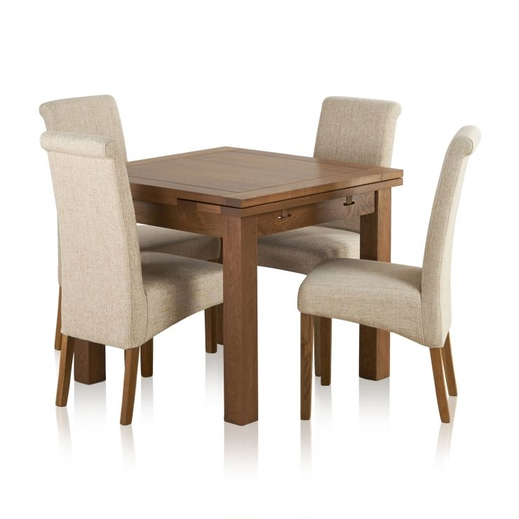 Extending Dining Table In Rustic Oak With 4 Beige Fabric Chairs throughout Dining Tables and Fabric Chairs