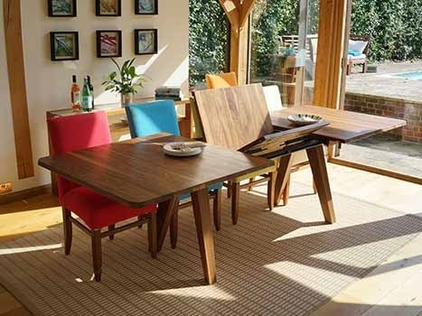 Extending Dining Tables In Solid Oak / Walnut, Contemporary Tables Within Extended Dining Tables And Chairs (Image 13 of 25)