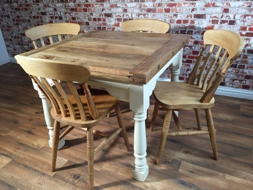 Extending Farmhouse Rustic Dining Table Set – Drop Leaf – Ergonomic Regarding Drop Leaf Extendable Dining Tables (Image 13 of 25)
