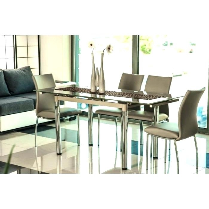 Extending Glass Dining Table And 6 Chairs Iii Beige Glass Extendable With Regard To Black Glass Extending Dining Tables 6 Chairs (Image 12 of 25)