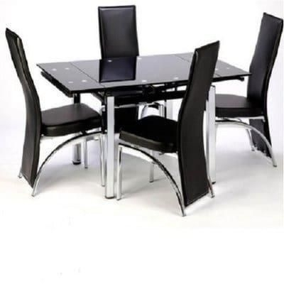 Extending Glass Dining Table With 4 Chairs – Black Price From Konga Intended For Cheap Glass Dining Tables And 4 Chairs (View 3 of 25)