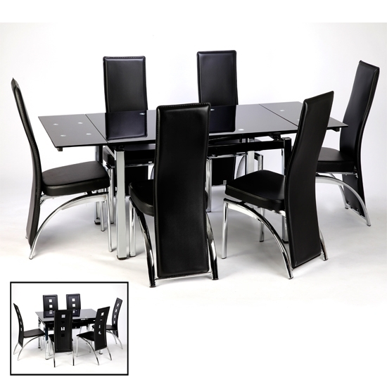 Extending Glass Dining Tables Furniture Ebay Black Table 57 For Black Extendable Dining Tables And Chairs (Image 14 of 25)