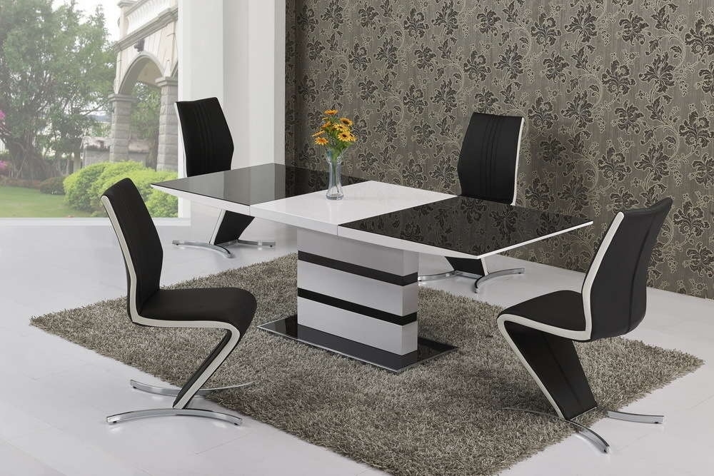 Extending Gloss With Glass Dining Table And 4 White Stripe Chairs Throughout White Gloss And Glass Dining Tables (Image 4 of 25)