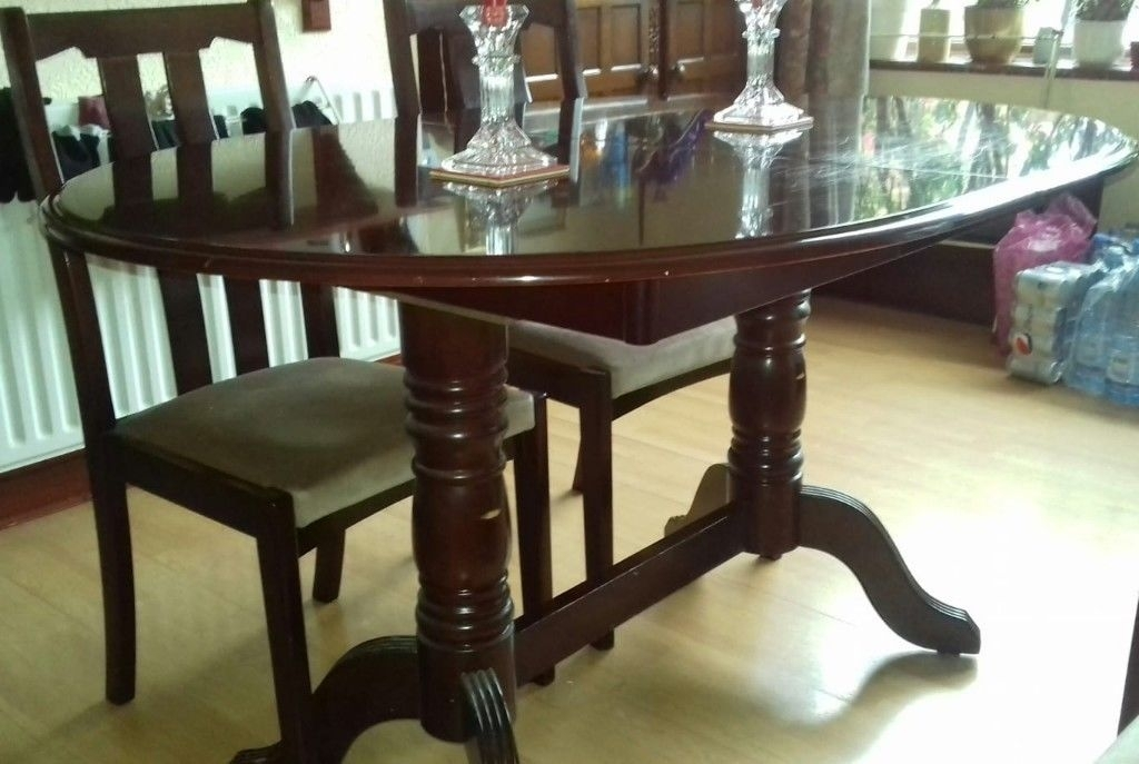 Extending Mahogany Dining Table And 4 Chairs, Good Condition | In For Mahogany Dining Tables And 4 Chairs (View 6 of 25)
