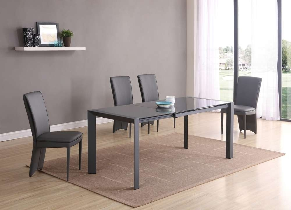 Extending Matt Grey Glass Dining Table And 6 Chairs – Homegenies Pertaining To Grey Glass Dining Tables (Image 10 of 25)