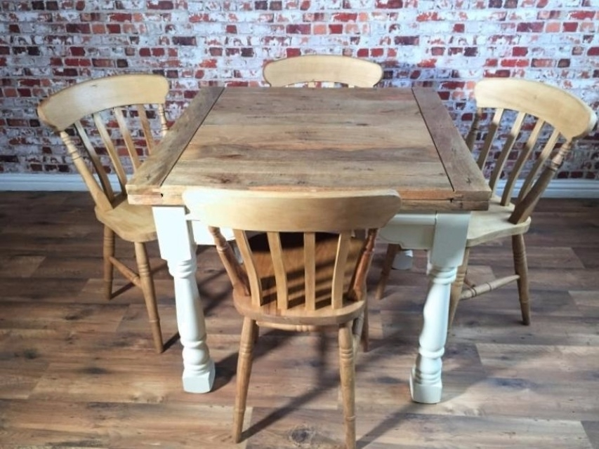 Extending Rustic Farmhouse Dining Table Set - Drop Leaf Painted In regarding Drop Leaf Extendable Dining Tables