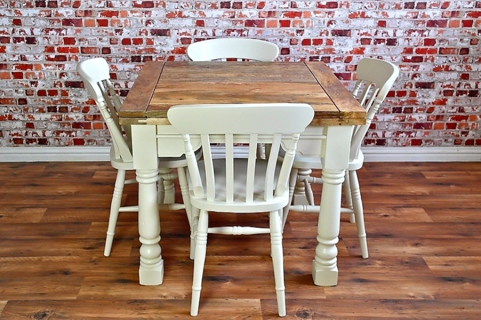 Extending Rustic Farmhouse Dining Table Set – Drop Leaf Painted In With Regard To Drop Leaf Extendable Dining Tables (Image 16 of 25)
