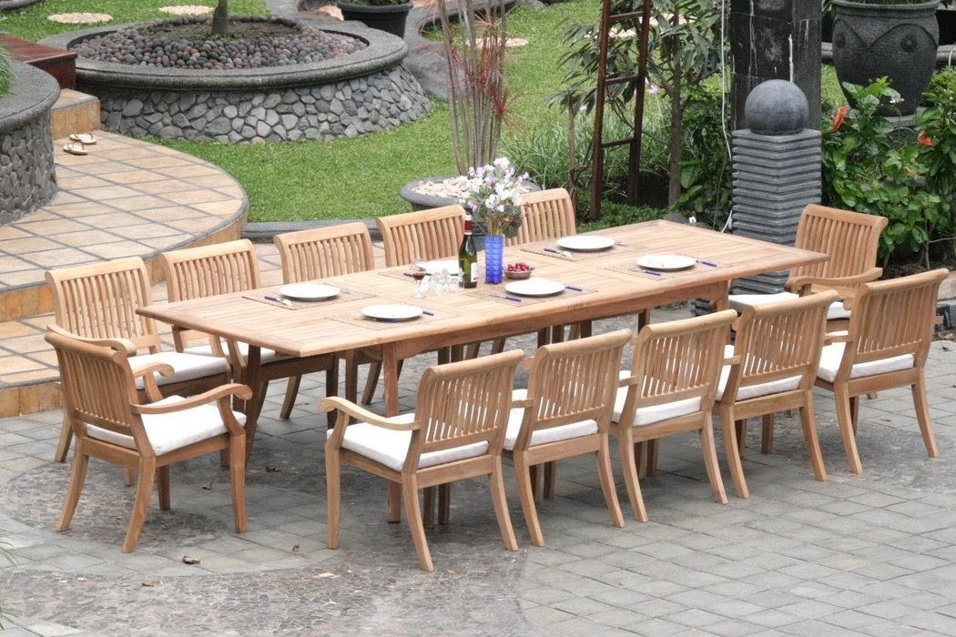 Extending Teak Patio Table Vs Fixed Length Dining Table – Pros And Inside Outdoor Dining Table And Chairs Sets (Photo 11 of 25)