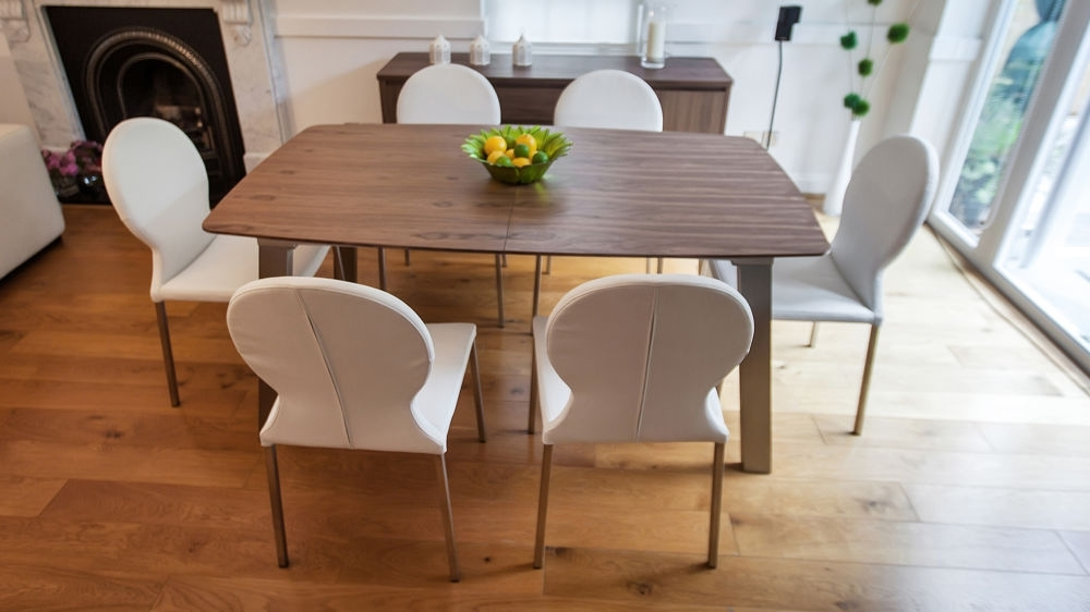 Extending Trendy Walnut Dining Table And Chairs | Brushed Metal Legs In Brushed Metal Dining Tables (Image 6 of 25)