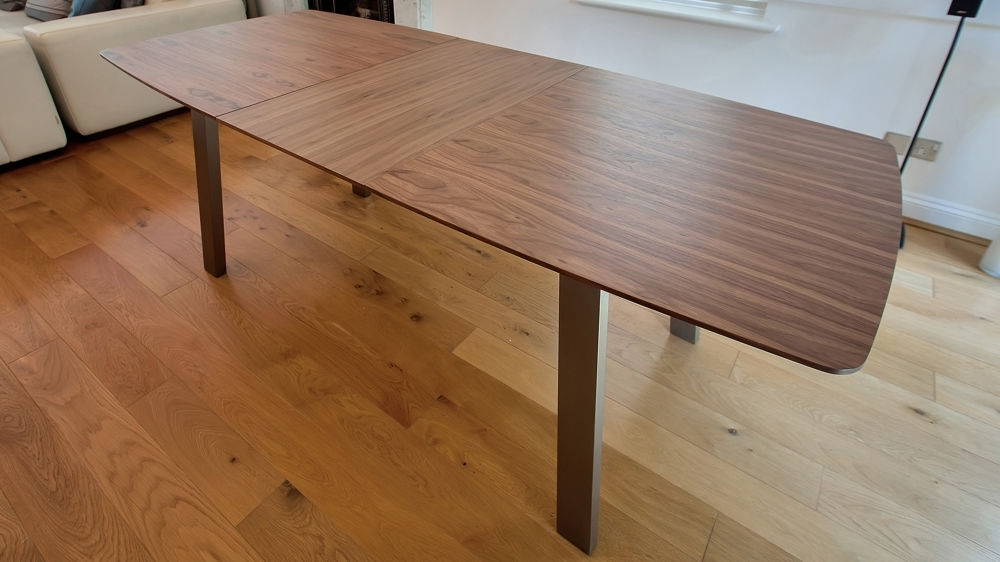 Extending Trendy Walnut Dining Table And Chairs | Brushed Metal Legs Throughout Retro Extending Dining Tables (View 24 of 25)