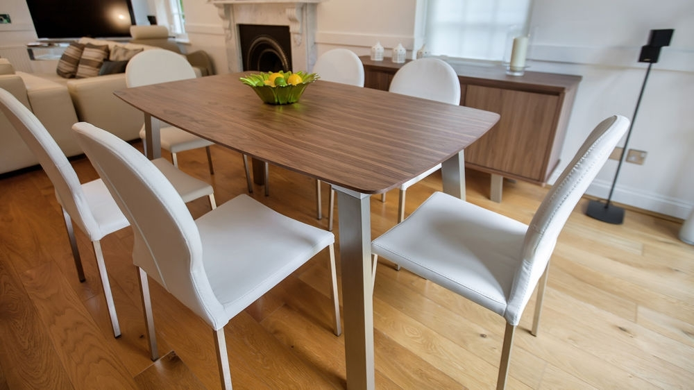 Extending Trendy Walnut Dining Table And Chairs | Brushed Metal Legs with Dining Tables With White Legs