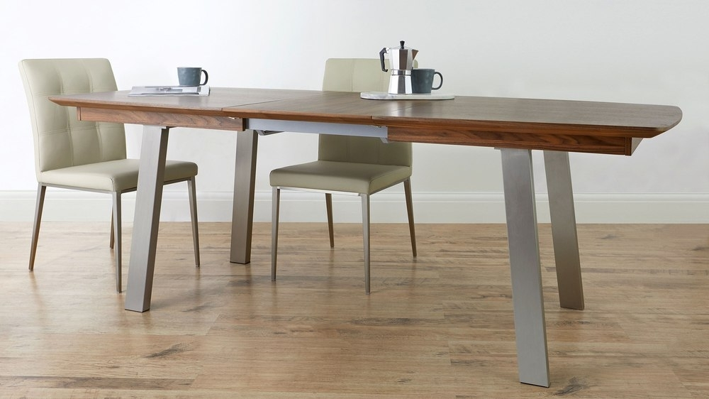 Extending Walnut Dining Table | Brushed Metal | 8 Seater For Walnut Dining Tables (Image 9 of 25)