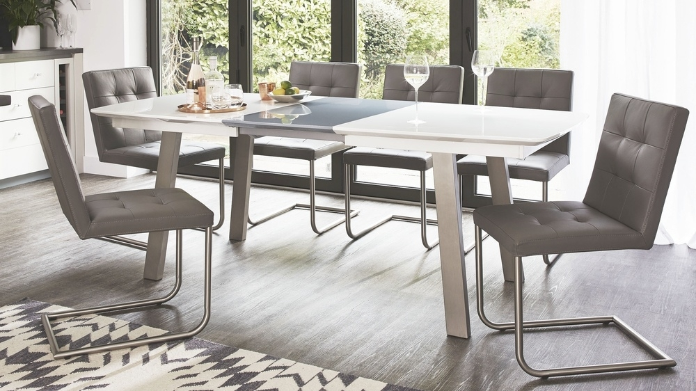 Extending White And Grey Gloss Dining Table | Uk Pertaining To Grey Gloss Dining Tables (Image 7 of 25)