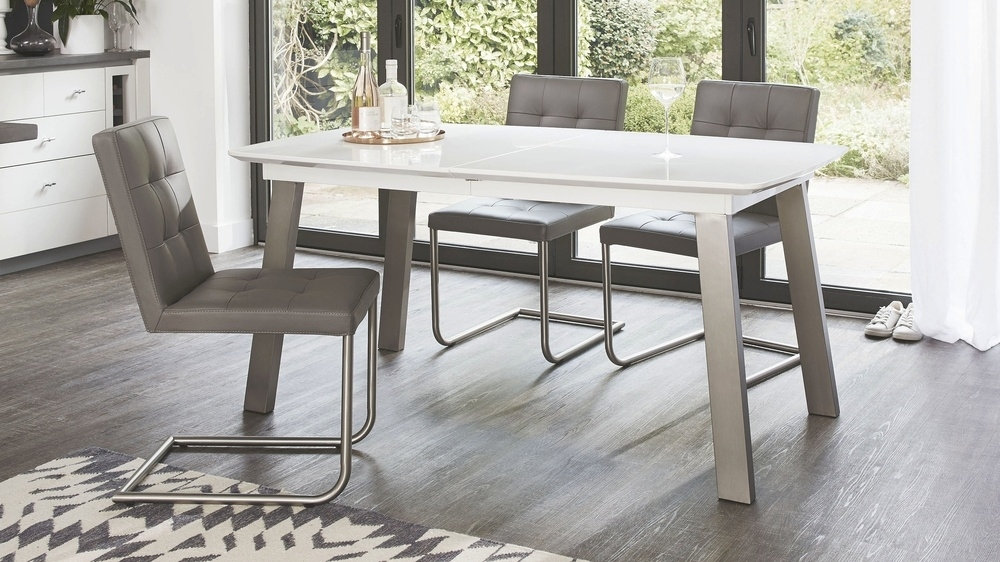 Extending White Gloss Dining Table | Seats 8 | Brushed Metal For Brushed Metal Dining Tables (Image 7 of 25)