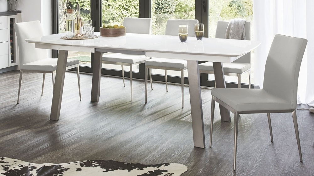 Extending White Gloss Dining Table | Seats 8 | Brushed Metal In Extending Gloss Dining Tables (Image 6 of 25)