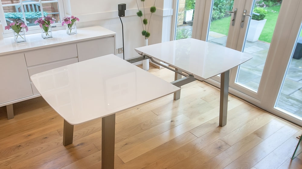 Extending White High Gloss Dining Set | Seats 8 | Colourful Faux In White Extending Dining Tables (Image 10 of 25)