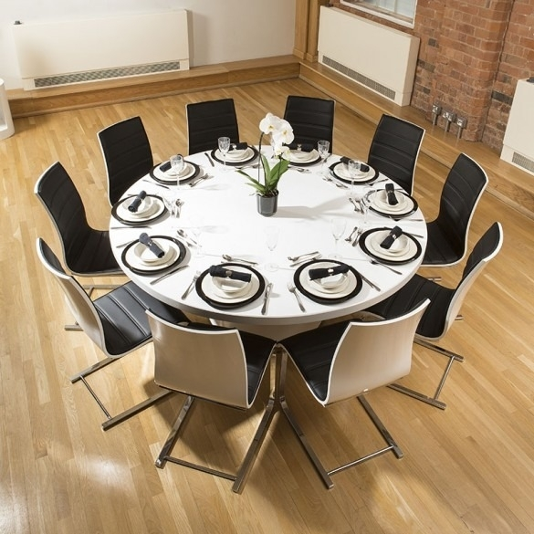 Extra Large Round White Corian Top Dining Table + 10 Dining Chairs inside Large White Round Dining Tables