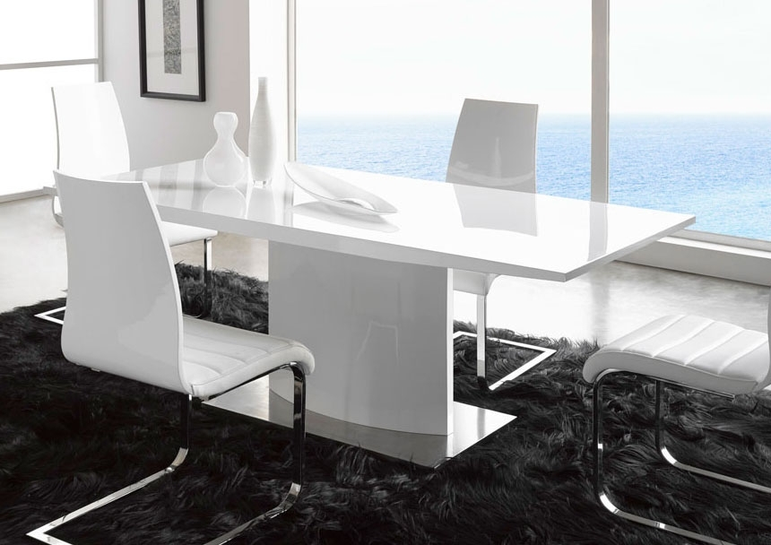 Extremely Contemporary White Lacquered Dining Table With Heavy Base within Contemporary Base Dining Tables