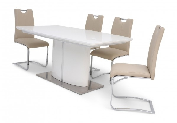 Fabian White Gloss Extending Dining Table + 4 Chairs In White Gloss Dining Sets (Image 7 of 25)