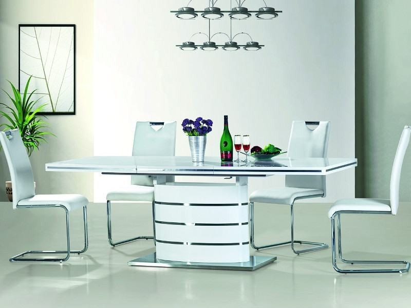 Fabio White High Gloss Dining Table 140 (200) – Mr Gregor Ltd With White High Gloss Dining Tables (Image 7 of 25)