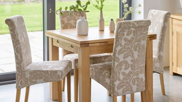 Fabric Dining Chairs | Upholstered Chairs | Fabric Chairs | Oak Intended For Fabric Covered Dining Chairs (Image 9 of 25)