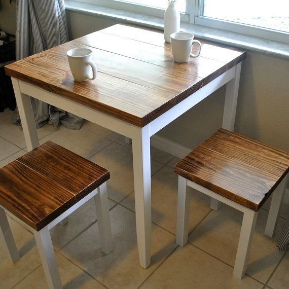 Farmhouse Breakfast Table Or Dining Table Set With Or Without Stools With Regard To Small Dining Sets (Image 9 of 25)
