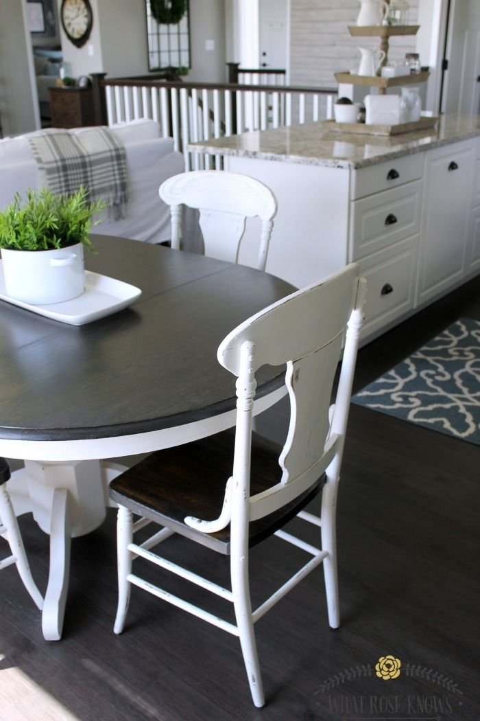 Farmhouse Style Painted Kitchen Table And Chairs Makeover In 2018 Inside Laurent 5 Piece Round Dining Sets With Wood Chairs (Image 15 of 25)