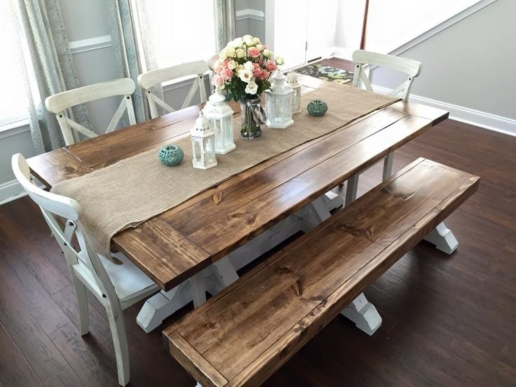 Farmhouse Table & Bench | Home (Ideas & Decor) | Pinterest Within Dining Tables And 2 Benches (View 6 of 25)