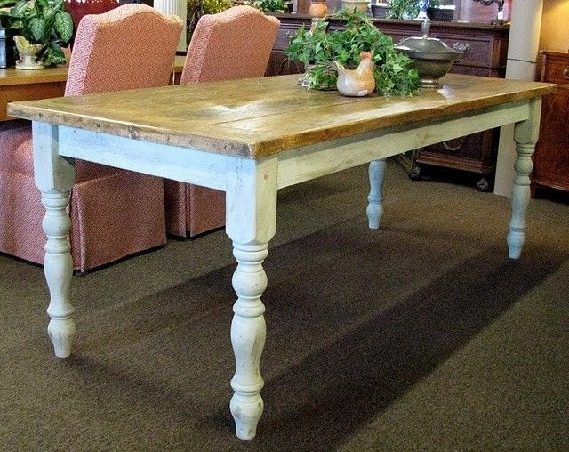 Farmhouse Table With Timber Top And White Legs (Image 11 of 25)