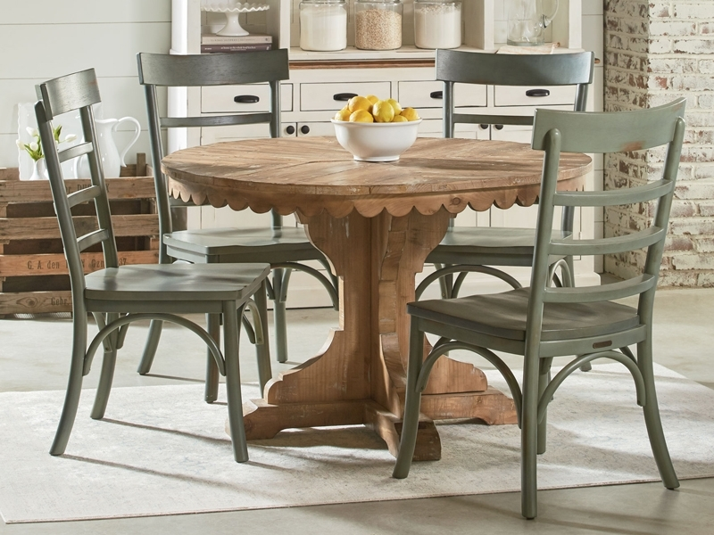 Farmhouse Top Tier Round Pedestal Tablemagnolia Home Intended For Magnolia Home Breakfast Round Black Dining Tables (View 2 of 25)