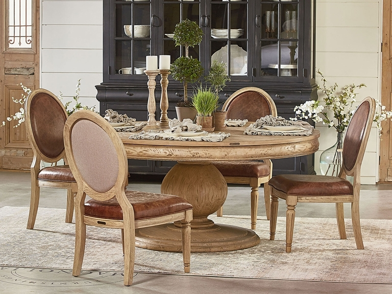 Farmhouse Top Tier Round Pedestal Tablemagnolia Home Pertaining To Magnolia Home Top Tier Round Dining Tables (Image 5 of 25)