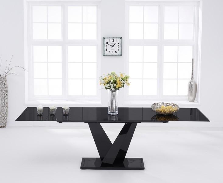 Faro Black Glass 180Cm 260Cm Extending Dining Table Inside Black Extending Dining Tables (Image 12 of 25)