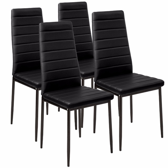 Faux Leather Dining Chair Black High Back Chrome Leg 4Pcs/lot Dining Throughout High Back Leather Dining Chairs (View 16 of 25)