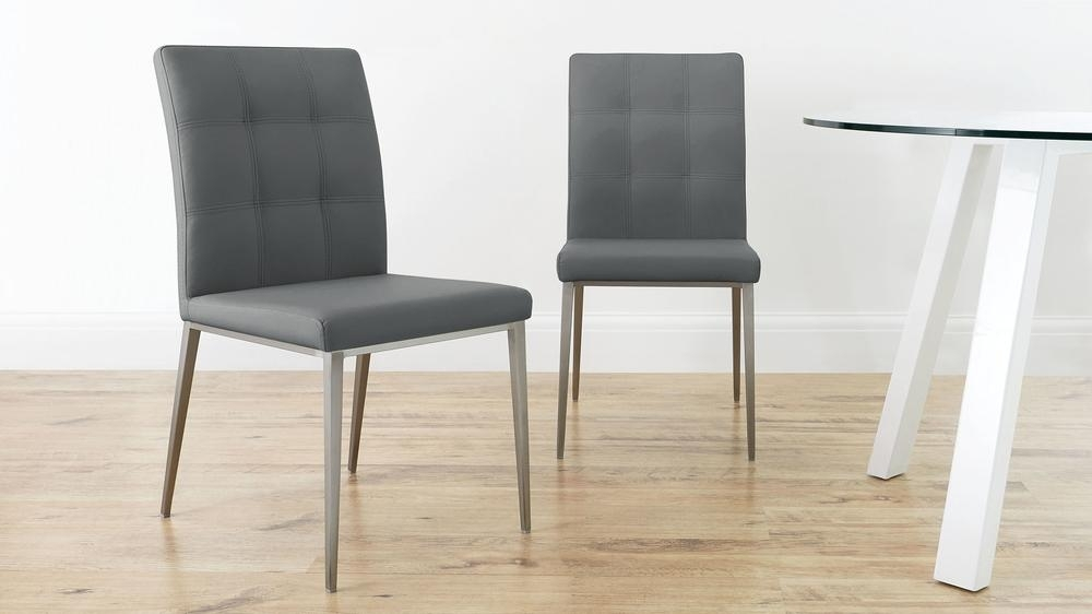 Faux Leather Dining Chair   Brushed Steel Legs   Uk Intended For Leather Dining Chairs (View 25 of 25)