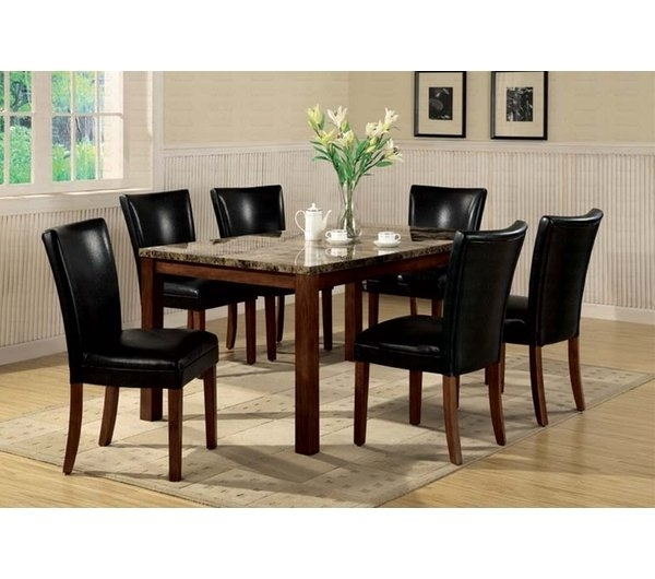 Faux Marble Veneer Dining Table | Wayfair Inside Cora 7 Piece Dining Sets (Photo 7 of 25)
