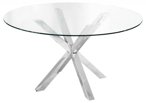 Febland – Crossly Circular Glass Dining Table – Sculptured Chrome Inside Chrome Glass Dining Tables (View 14 of 25)