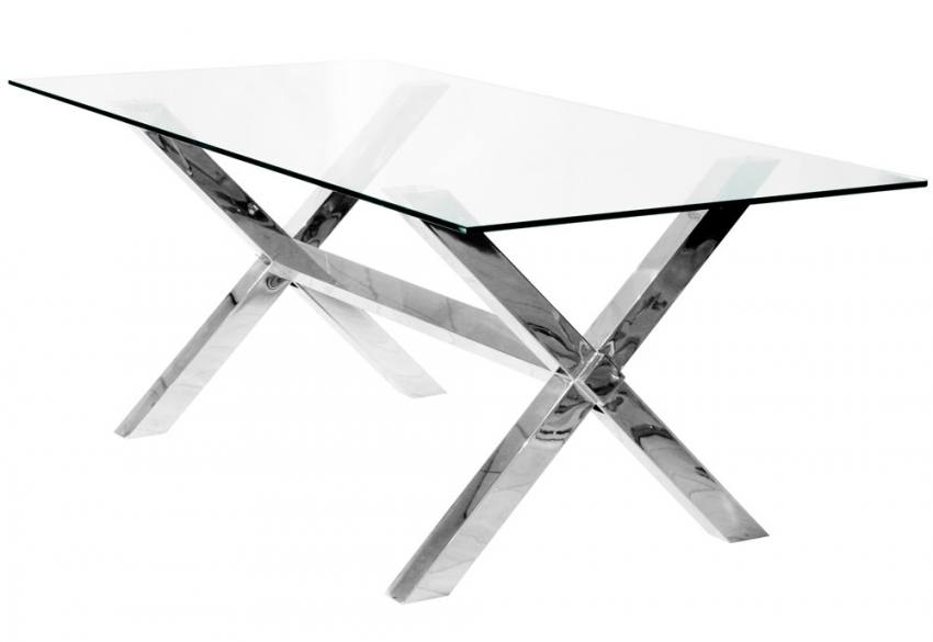 Febland – Crossly Rectangular Glass Dining Table – Sculptured Chrome For Chrome Glass Dining Tables (Image 12 of 25)