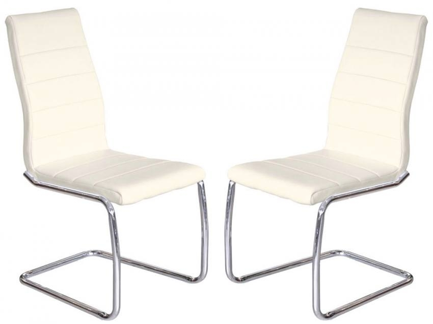 Febland – Svenska Steel Chrome Frame Dining Chairs – Cream Faux Regarding Chrome Leather Dining Chairs (View 7 of 25)