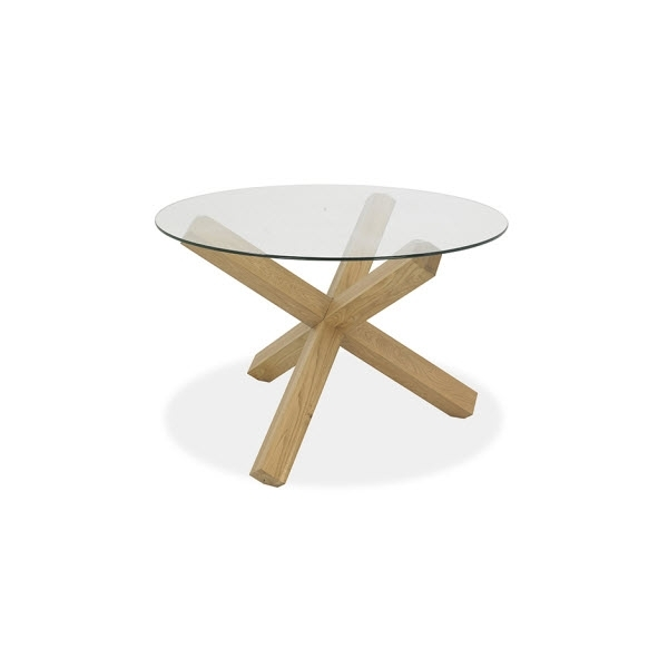 Felix 120Cm Round Glass Top / Oak Legs Dining Table – Sofa Concept With Round Glass Dining Tables With Oak Legs (View 11 of 25)