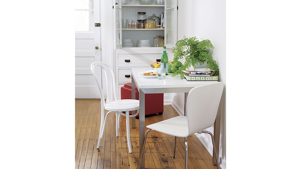 Felix White Dining Chair + Reviews | Crate And Barrel Intended For Vienna Dining Tables (Image 8 of 25)