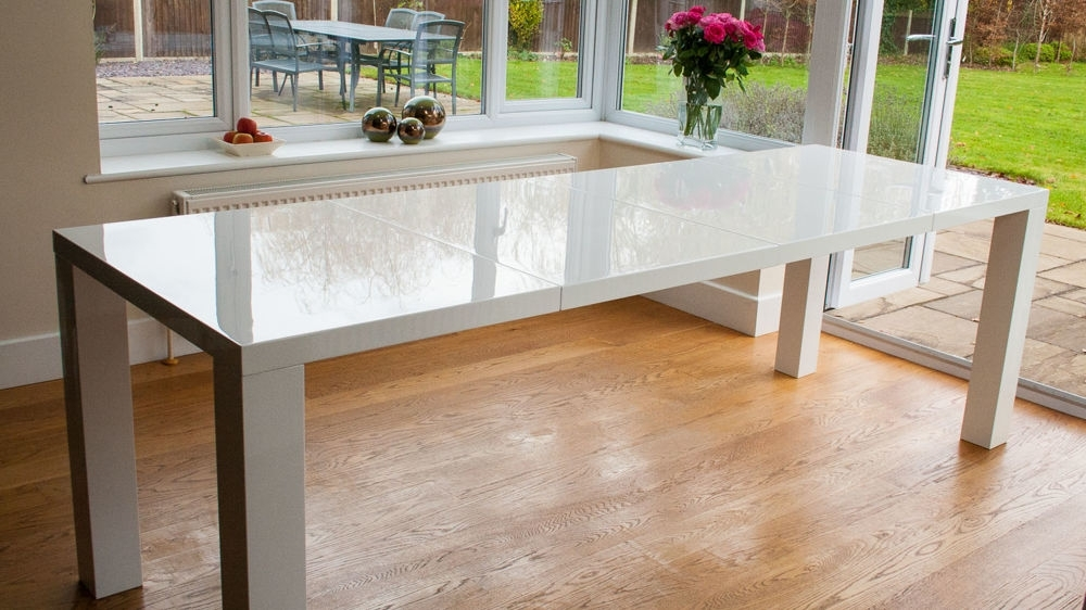 Fern White Gloss Extending And Eames Style Dining Set Inside Gloss White Dining Tables (Image 10 of 25)